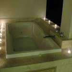 Candle lights at the main bedroom's jungle jacuzzi